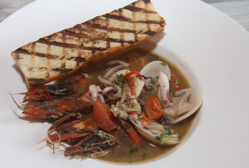 Tasty: Zuppa Di Mare comes with a generous amount of prawns, clam and squid in a light broth with some chilli slices thrown in to suit the local palate.