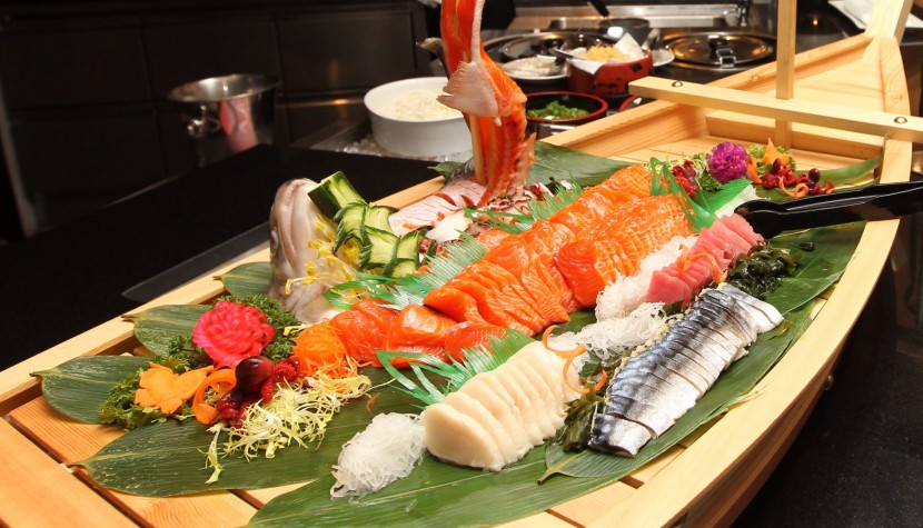 At the Japanese corner, diners are treated to a variety of sashimi and sushi.