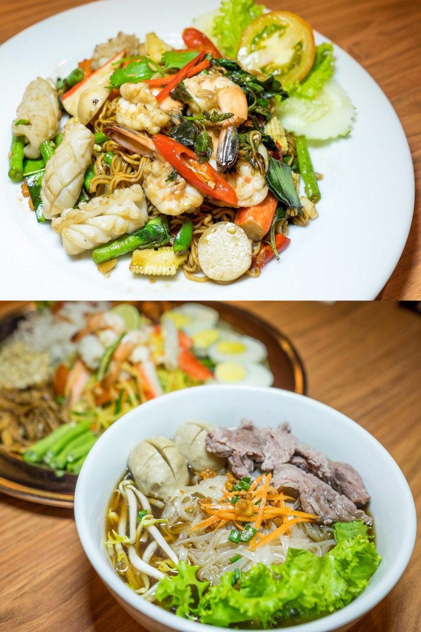 The Mama Kee Mao (top) and Thai beef noodle.