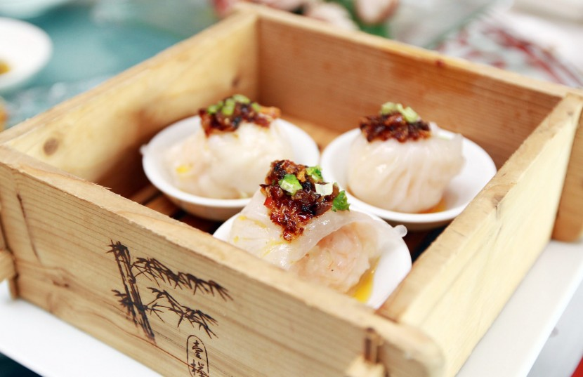 Eye-catching: Celestial Court Jumbo 'Har Kao' with Bamboo Pith topped with Truffle XO Sauce are bigger than the usual sized prawn dim sum.