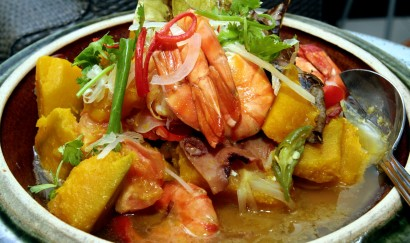 Flavouful: The vegetable and prawn soup is hearty, a great dish to be eaten hot with rice.