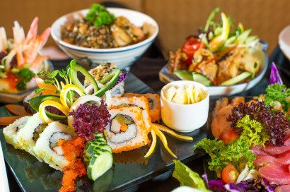 Tasty delights at the Fusion Japanese buffet.