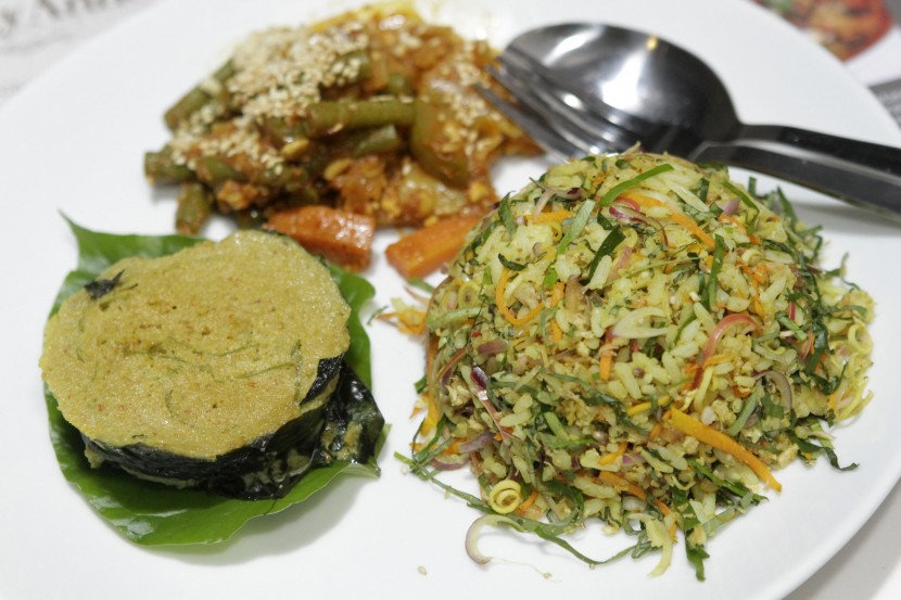 Clockwise from right: Nasi Ulam, Otak-Otak and Acar from Aunty Anne True Penang Cuisine.