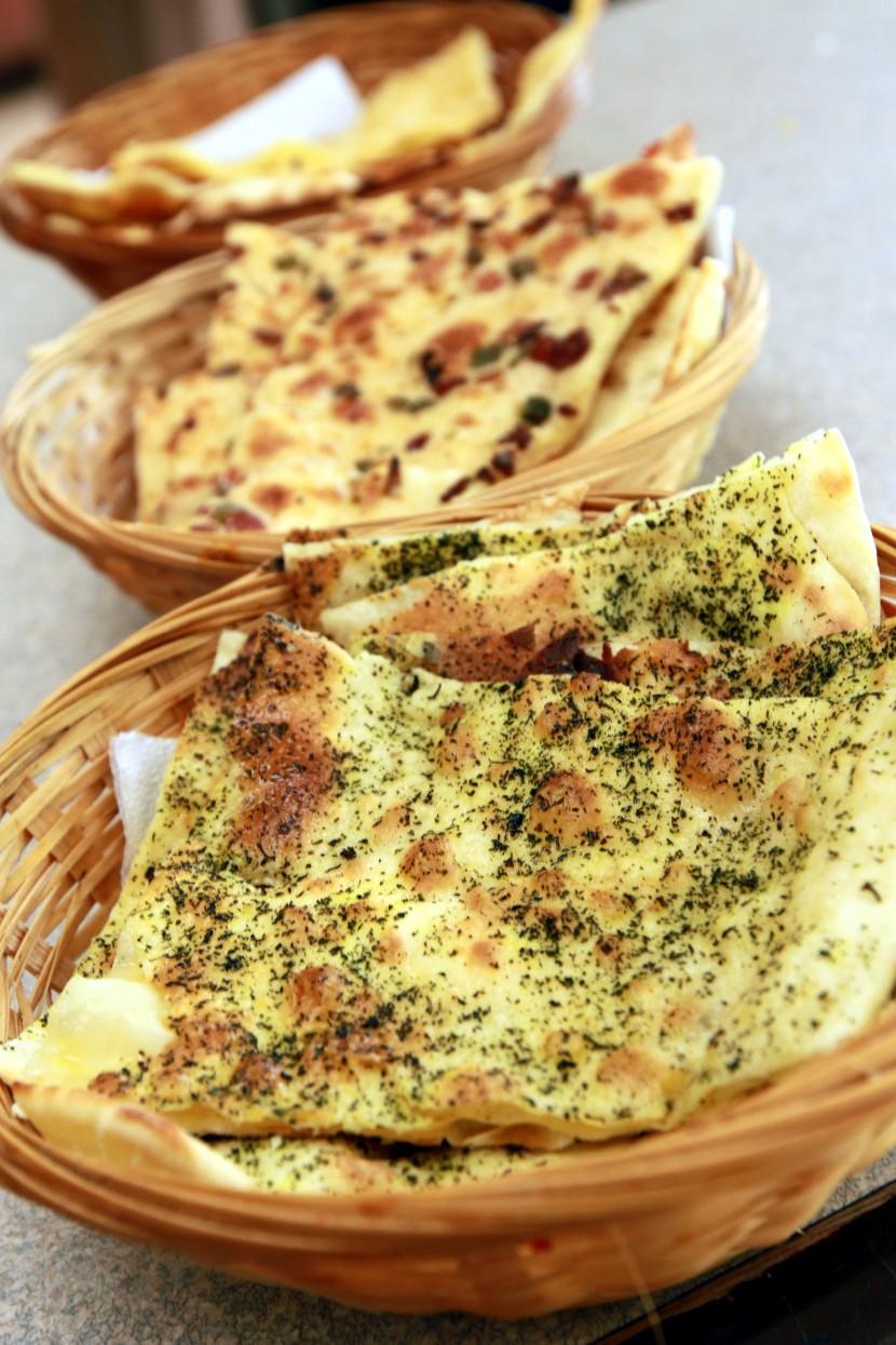 Different breads (From top) Garlic naan, Kashmiri naan and Pudina Prata.