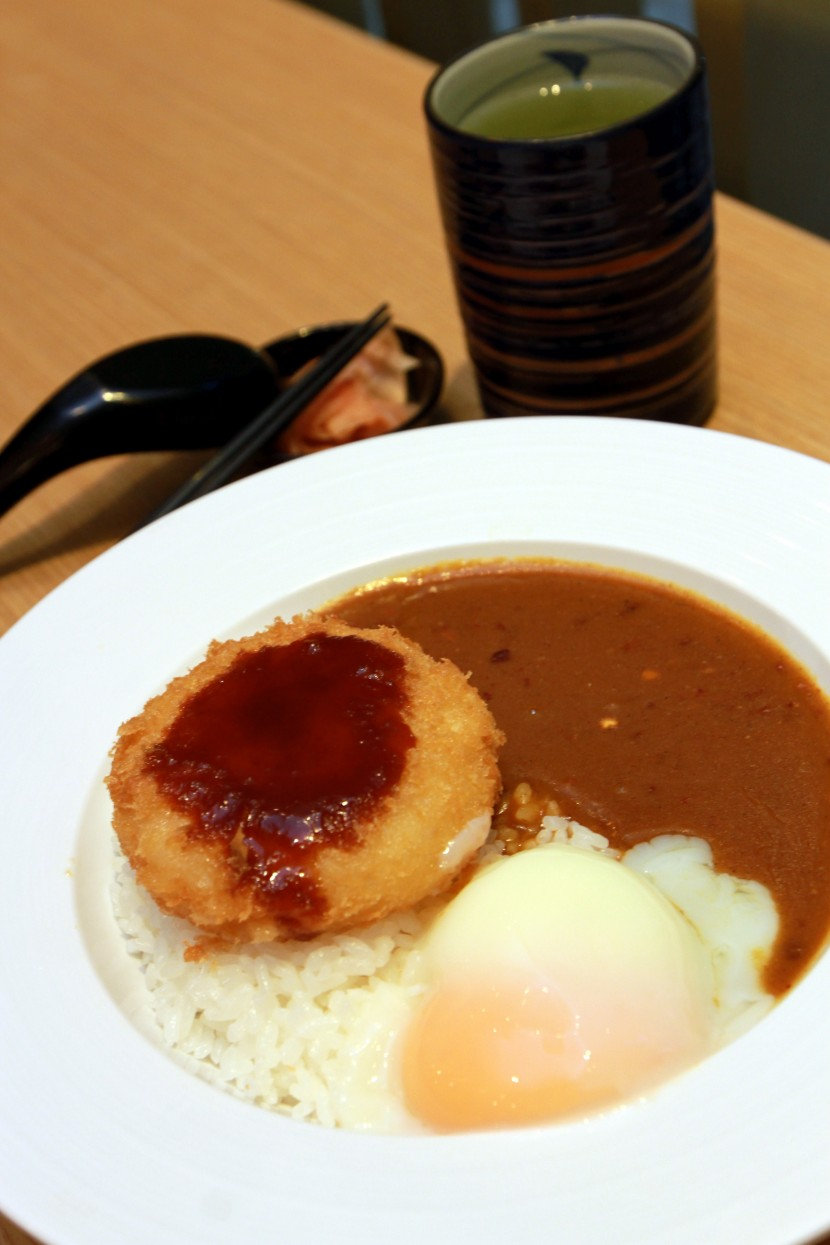 Ebi Katsu curry, Japanese curry served with poached egg and prawn patty.