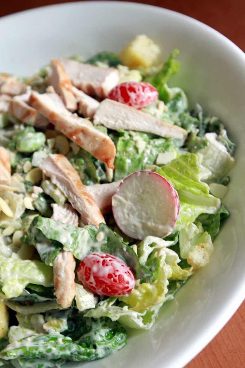Healthy choice: The Green Goddess Salad comes with grilled chicken, Romaine lettuce, Green Goddess dressing, cherry tomatoes, avocado, red radish, edamame, sliced almonds, cucumbers and croutons.