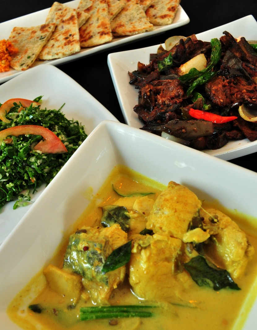 Sri Lankan cuisine (Clockwise from left): Vallarai keerai, brinjal moju and fish sodhi.