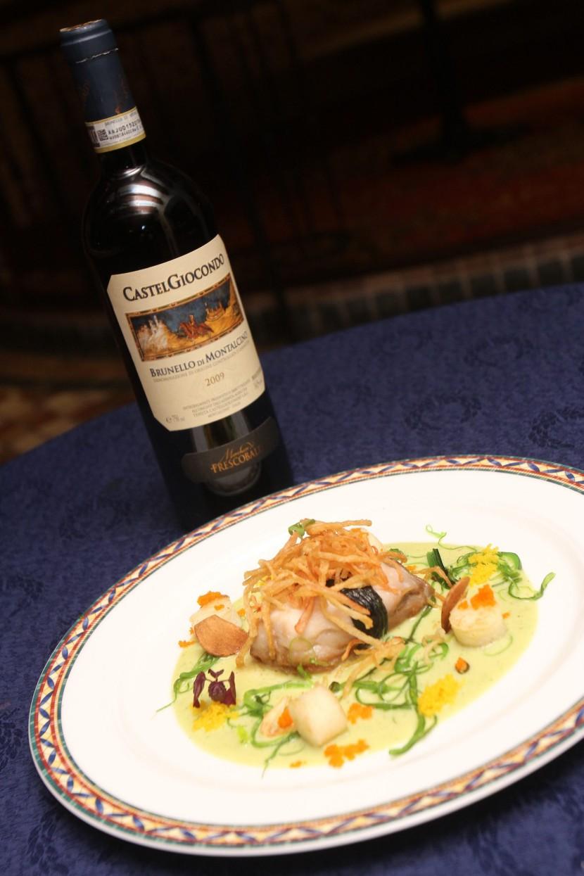 Yamasa marinated Garoupa filled with seared Polenta, Chukka Wakame, Golden Ebiko and Dill Voloute paired with Frescobaldi Castelgiocondo Brunello di Montalcino DOCG, 2008.