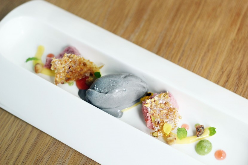Yuzu Curd: Bokbunja Chiffon, Green Tea, Basil Fluid Gel.