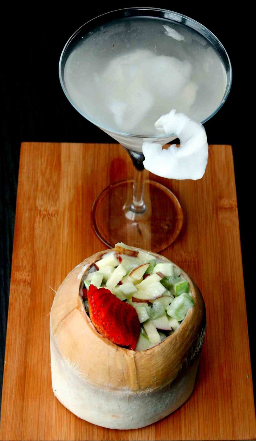 'Paradiso' fruit cocktail salad of mostly diced apples in mayo and fresh coconut water.