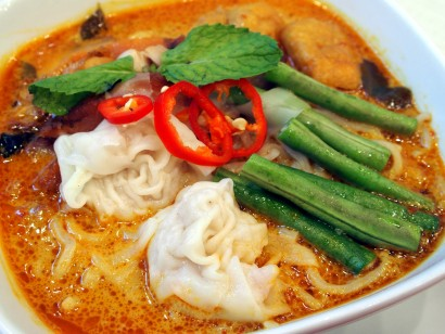 Curry Laksa Shanghai noodles with barbecued chicken and shrimp dumplings.