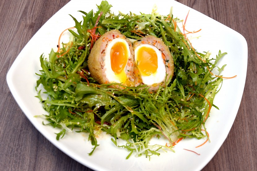 The Scotch Egg with Asian Slaw.