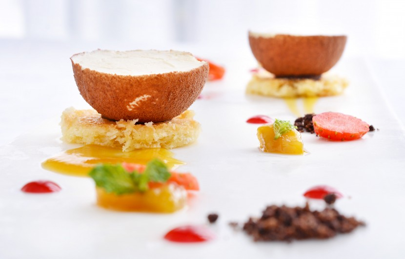 The dainty Coconut Parfait with Malibu, Coconut Joconde Biscuit and Mango Chutney, are an exquisite delight to end the meal.