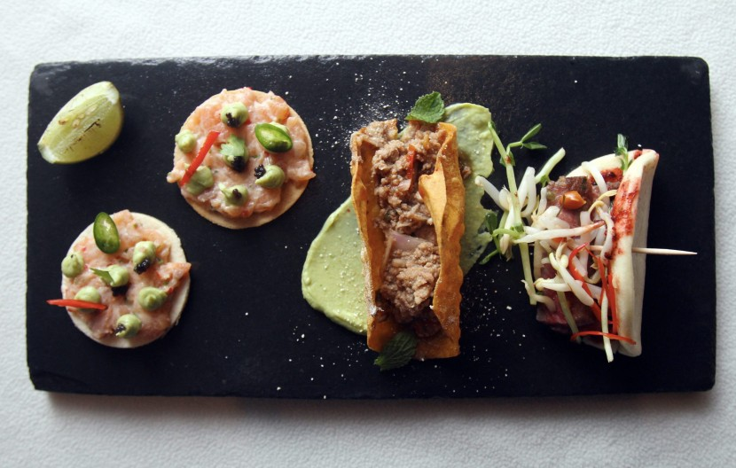 (From left) Salmon Tostada, Green Papaya, Guacamole, Chilli; Thai Duck Larb 'Tacos' Mint, Toasted Rice Dressing; and, Steam Bao, Char Grilled Beef, Hoisin Sauce Mung Bean Salad.