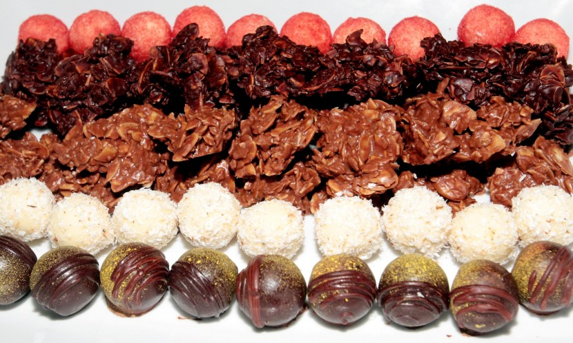 The dessert section has a delectable variety of chocolate pralines.