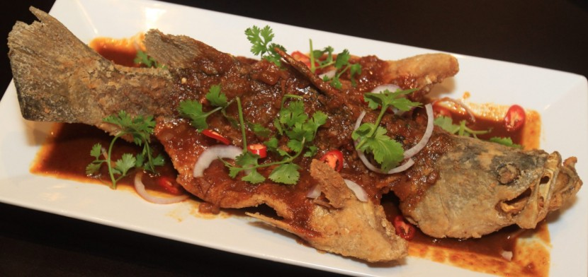 The Flying Fish dish is deep-fried and served with sweet sambal sauce.