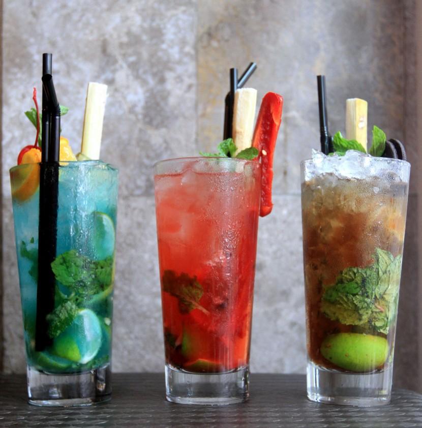House specials: (From left) Bora Bora Mojito, Spicy Cuban Mojito, and Koffee Karamel.