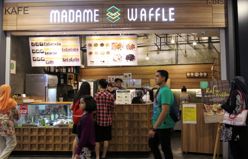 Diners queuing up for their favourite waffles at Madame Waffle in Mid Valley Megamall.
