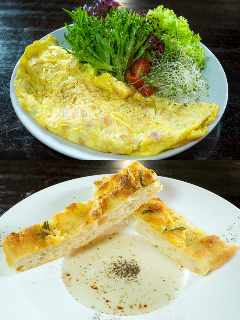 Start the day with the Omelette and Focaccia Bread with Mushroom Soup.