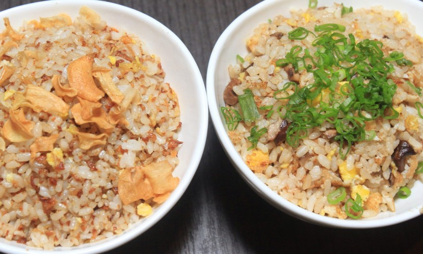 The Garlic Fried Rice and Mushroom Fried Rice (right).