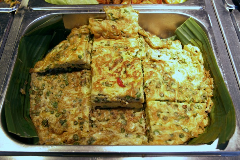 Fried Chinese-style vegetarian omelette.
