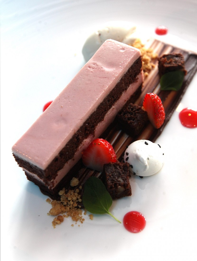 Chocolate Raisin Cake layered with Raspberry Cremeux.