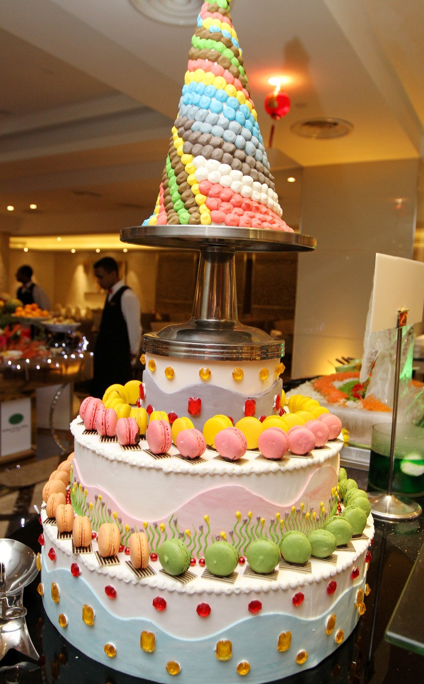 Colourful layers of dessert specially prepared for the Chinese New Year buffet.