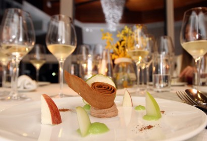 Foie Gras with Apple Textures and Gaufrette Biscuit. The silky foie gras mousse was paired with tart apple instead of sauteed or caramelized sweet fruits.