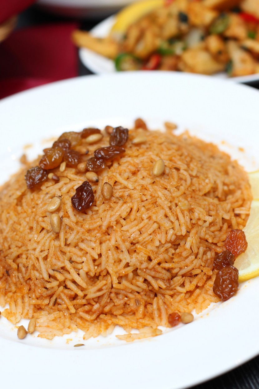 The Kabbseh Rice is cooked with tomato and Lebanese spices.