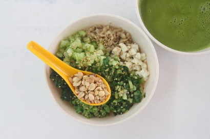 The vegetarian lei cha enjoyed with the green broth