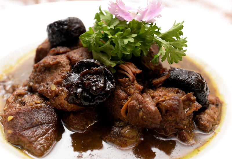 Another lamb dish is the Tajine Barkouk, a dish with prunes, coriander powder, leaf and honey.