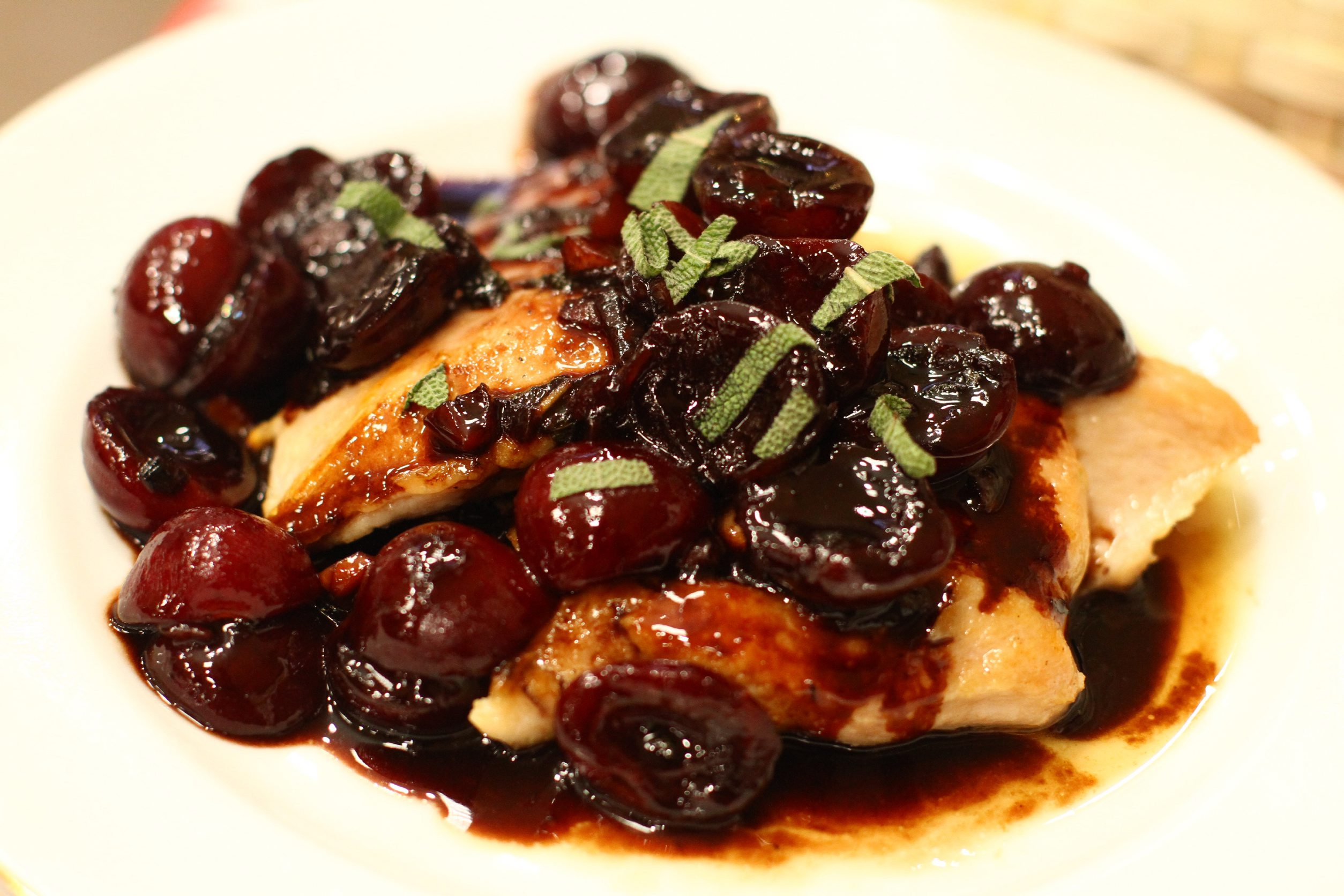 Cherry Pan-seared Chicken Breast with Cherry Balsamic Sauce