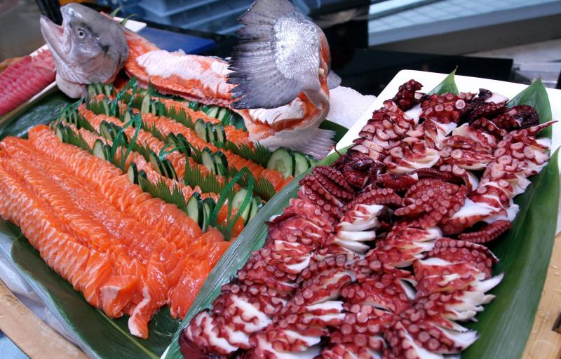 Diners can opt to break fast with sashimi from the Japanese section of the buffet.