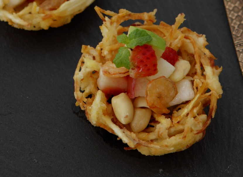 Fruit Salad in Crispy Durian Baskets