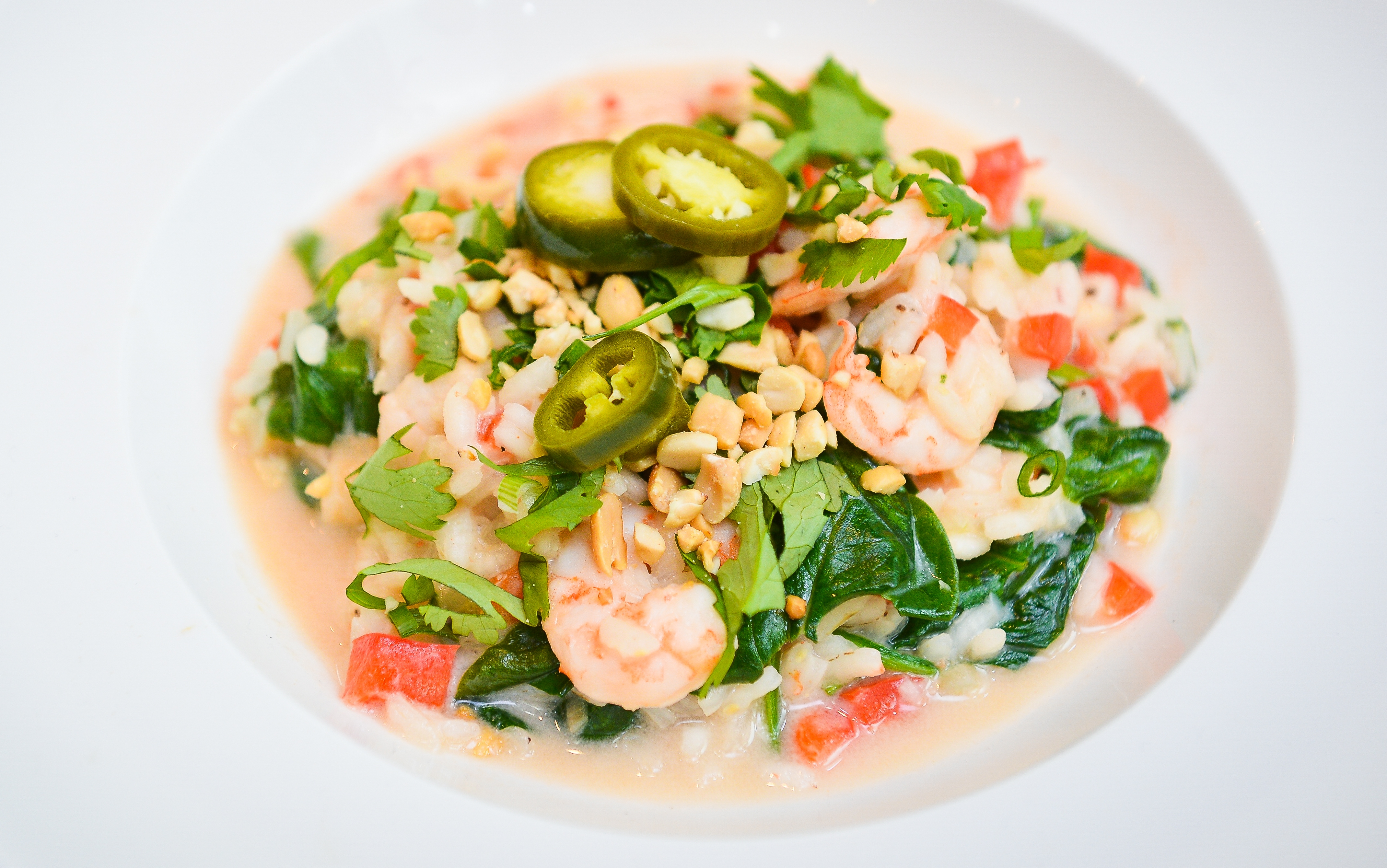 Shrimp and Coconut Risotto with Pickled Jalapeno.
