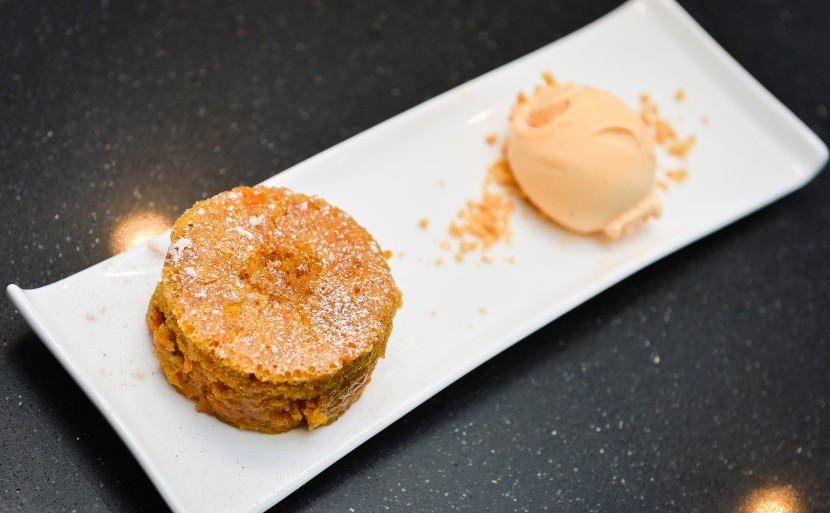 Steamed Carrot Cake with Sweet Potato Ice Cream