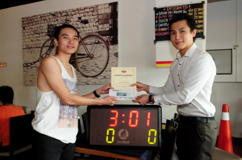 Though Tan Kee Yong Peng did not finish in the two-minute time, he was still the first to finish, at a time of 301.