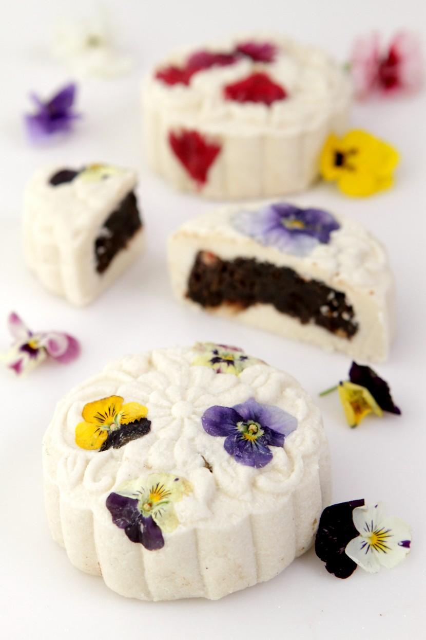 Crystal Flower Mooncakes with Mixed Quinoa, Dates, Pomegranate, Lemon Peel and Oreos.