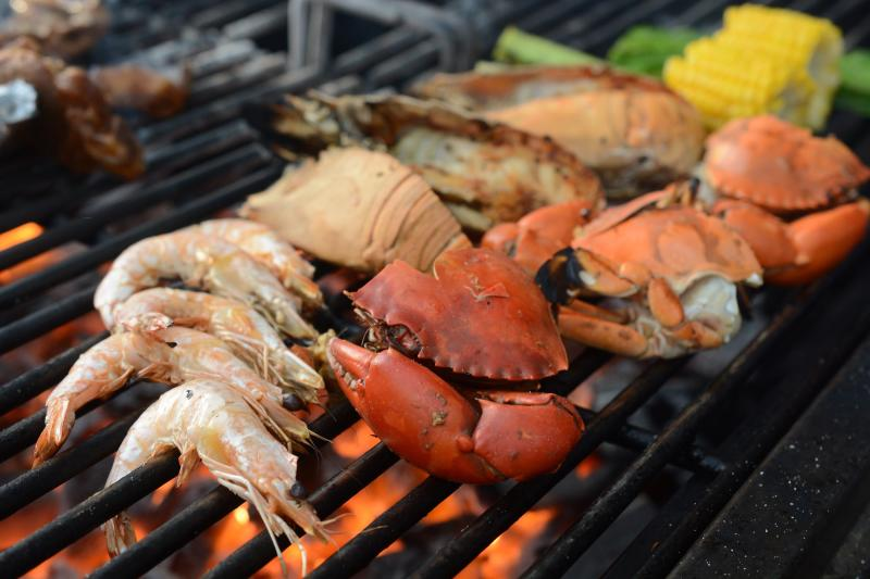 Prawns, crabs, lobsters and more are flamed over the barbecue grill, before being lathered with the mouth-watering Portuguese sauce.