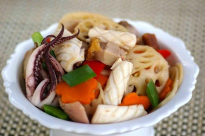Squid and Roast Pork Vegetable Stirfry.