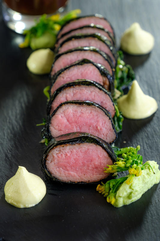 The nori-wrapped lamb loin is a delightful dish for meat lovers.