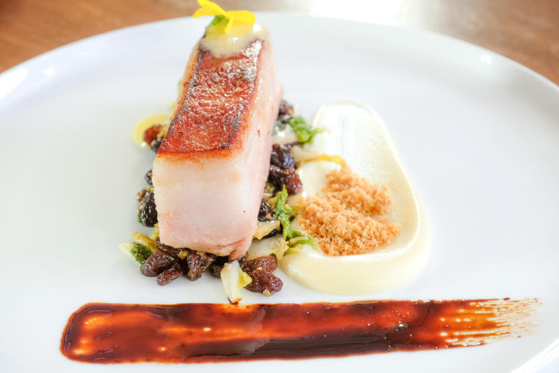 The presentation of pressed pork belly is just as good as its taste.