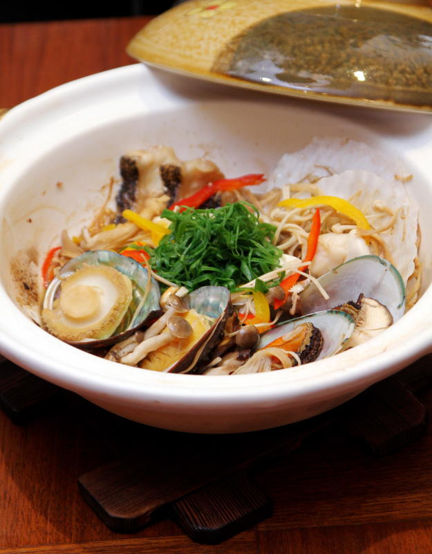 The rich umami flavoured soup of the Seafood Mushini Hot Pot is a delight to indulge in.