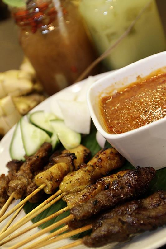 The sate, which is available in chicken, beef and mutton, is served with a tasty peanut dipping sauce.
