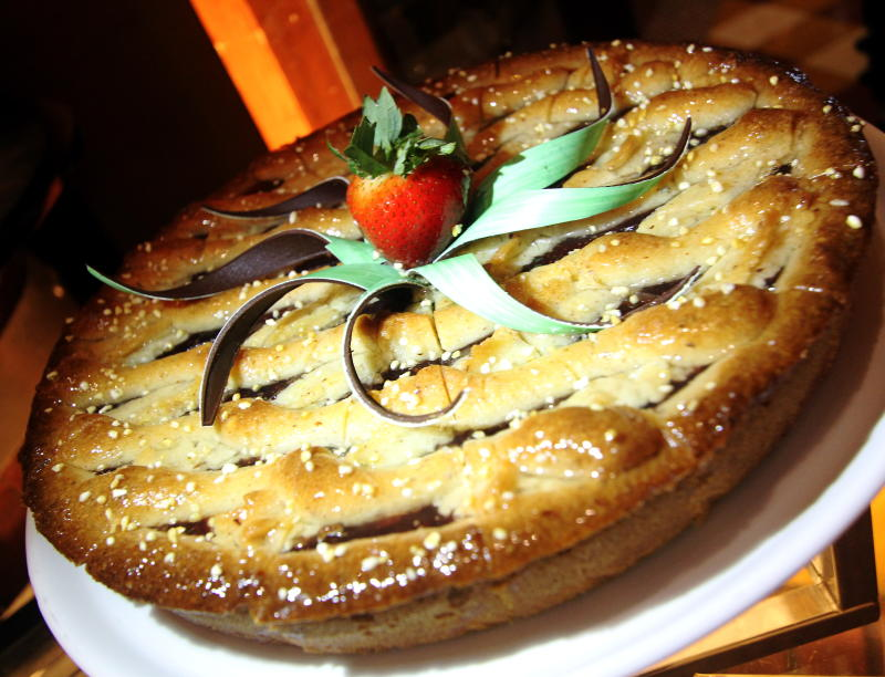The strawberry pie is one of the seven type of pies available.
