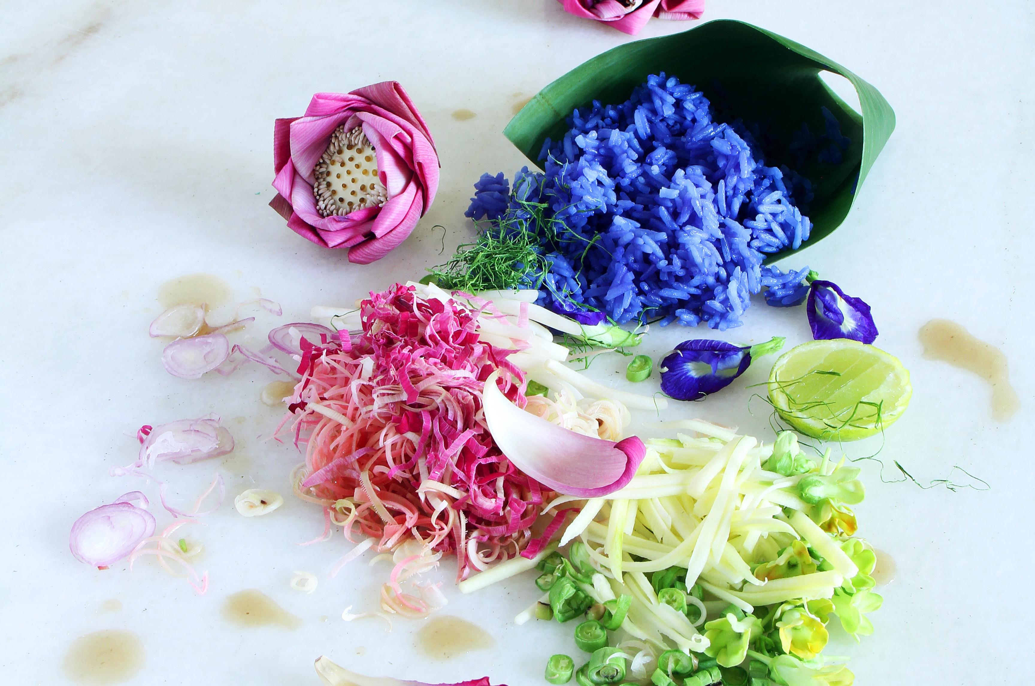 Nasi Kerabu with Flower Salad