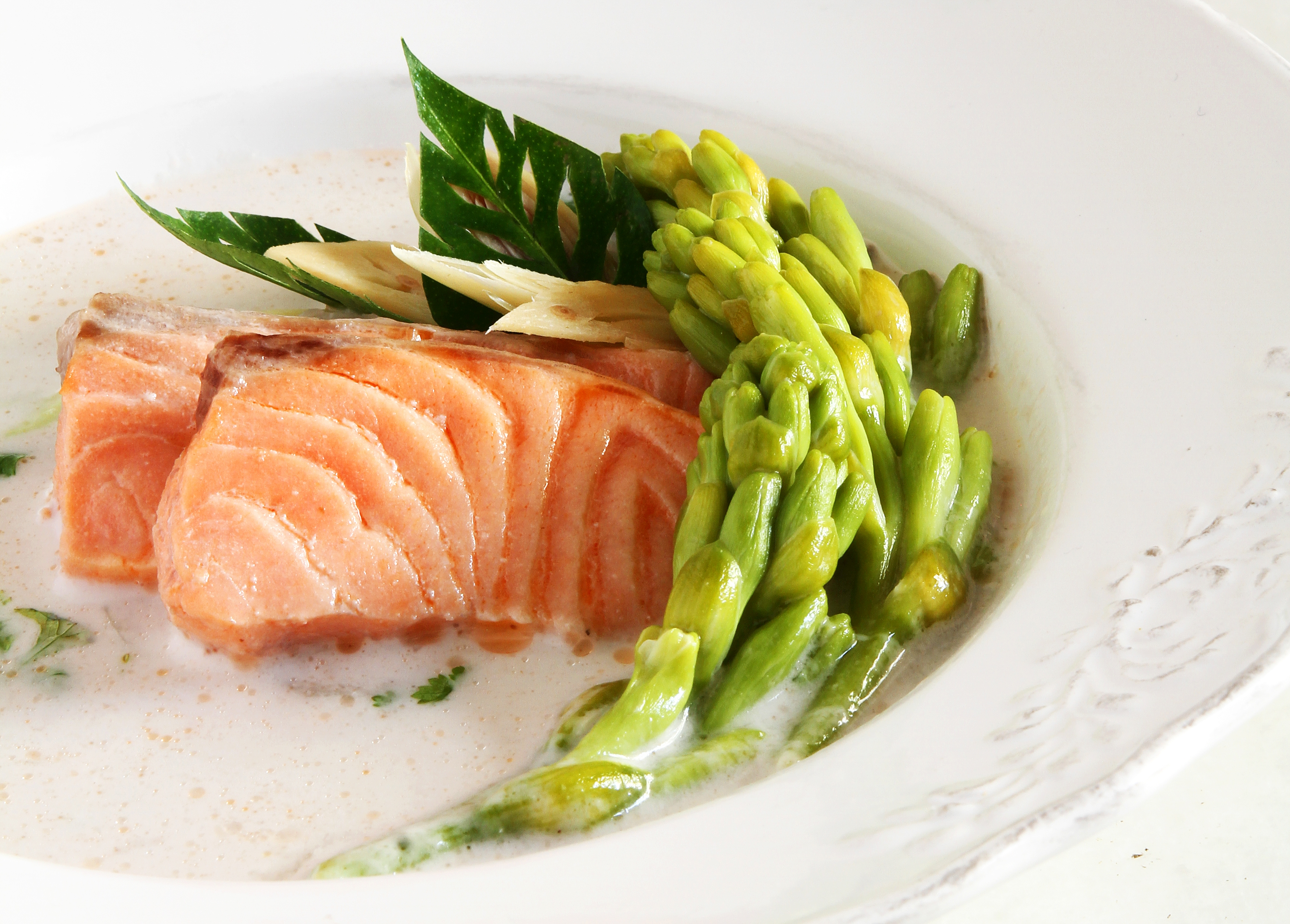 Salmon and Tuberose in Galangal Soup