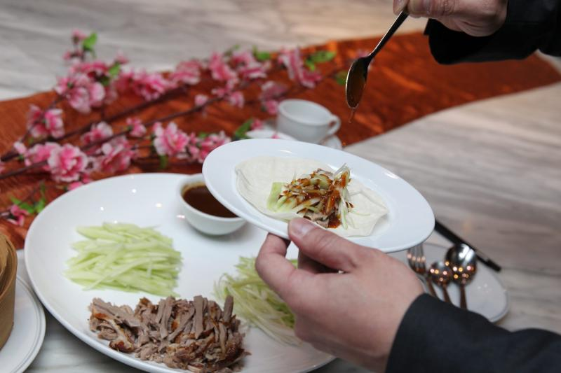The Aromatic Peking Duck is a popular dish that can be finished in minutes.