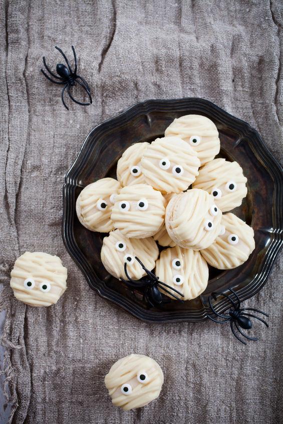 63750688 - white mummy macaroons for halloween