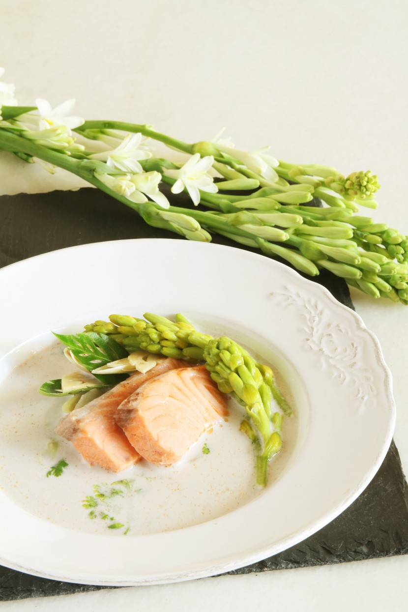 Salmon and Tuberose in Galangal Soup.